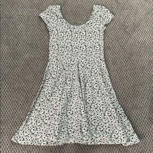 NEVER WORN Black and white daisy skater dress